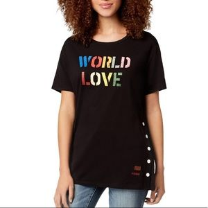 NWT PEACE LOVE WORLD GRAPHIC SIDE-SNAP S-M-L